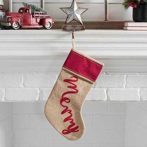 KIRKLANDS Stocking Farmhouse Decor Merry Red